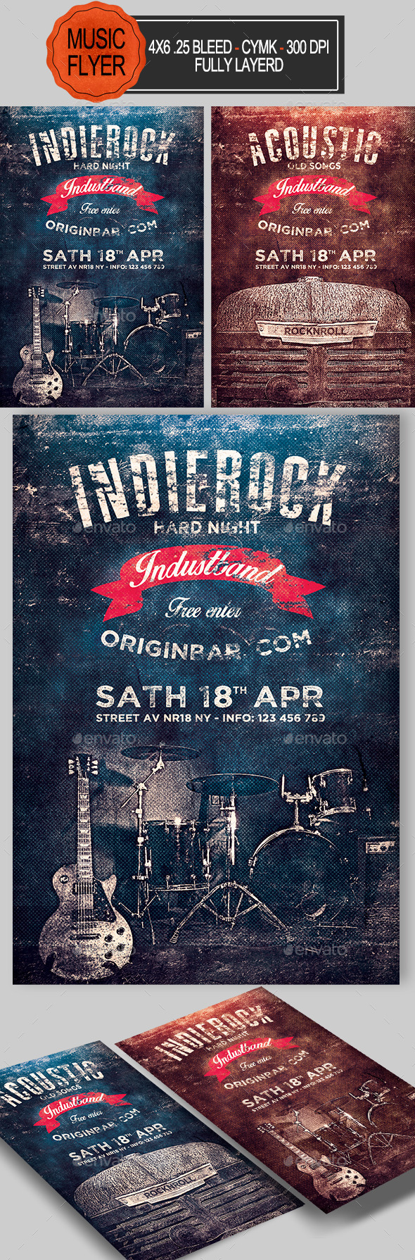 GraphicRiver Indie Rock and Acoustic Flyer 10790272