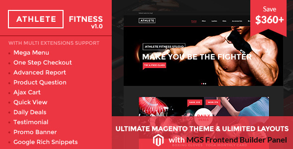 ThemeForest Athlete Fitness Ultimate Magento theme 10859299
