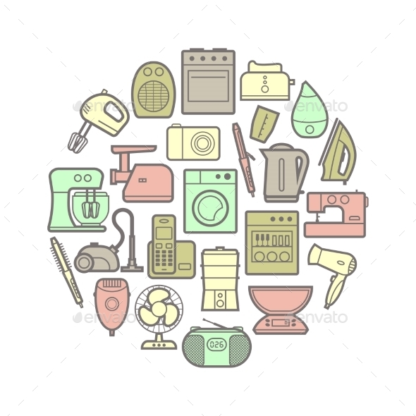 GraphicRiver Home Appliances Icons 10859429