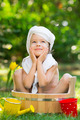 Child bathing outdoors in spring - PhotoDune Item for Sale