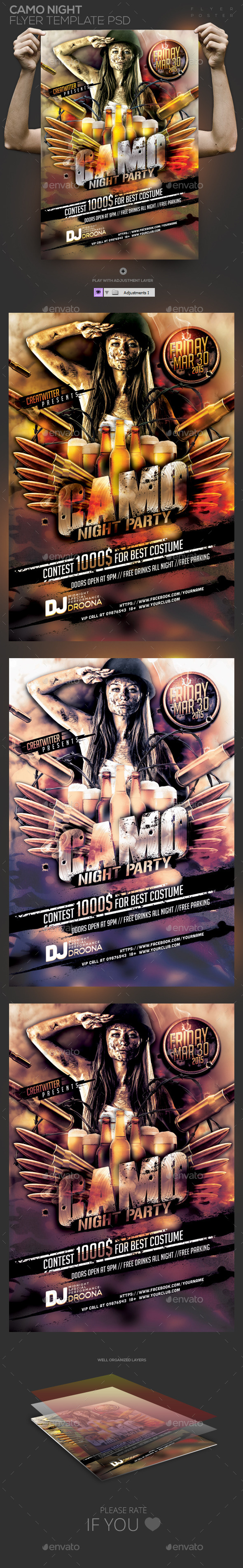 GraphicRiver Camo Night Party Template PSD Flyer Poster 10859773