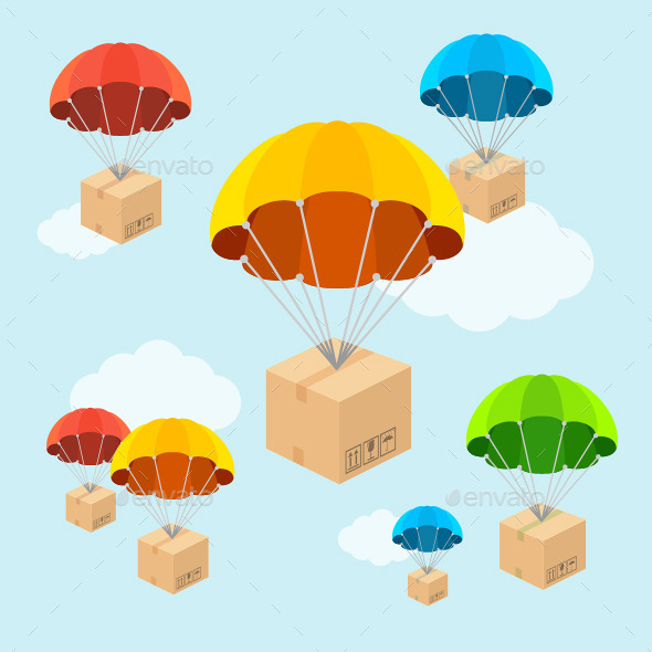 GraphicRiver Parachute Delivering Packages 10860054