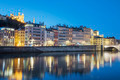 View of Lyon with Saone river at night - PhotoDune Item for Sale