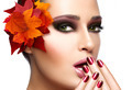 Trendy Autumnal Makeup and Nail Art. Beauty Fashion Concept - PhotoDune Item for Sale