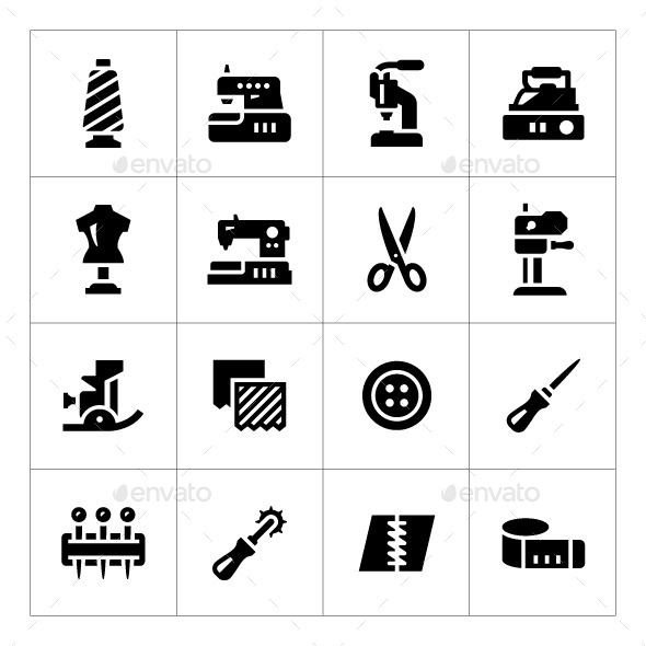 GraphicRiver Set Icons of Sewing 10860840