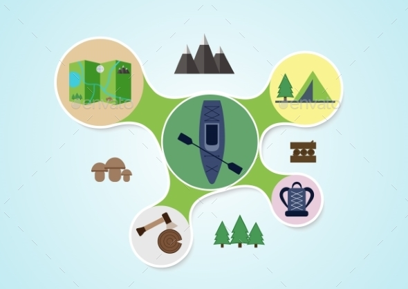 GraphicRiver Camping and Kayak Infographic 10860861