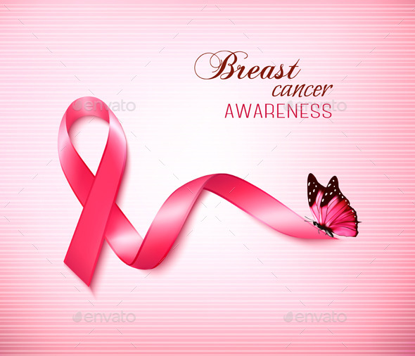 GraphicRiver Background with Pink Breast Cancer Ribbon 10861113