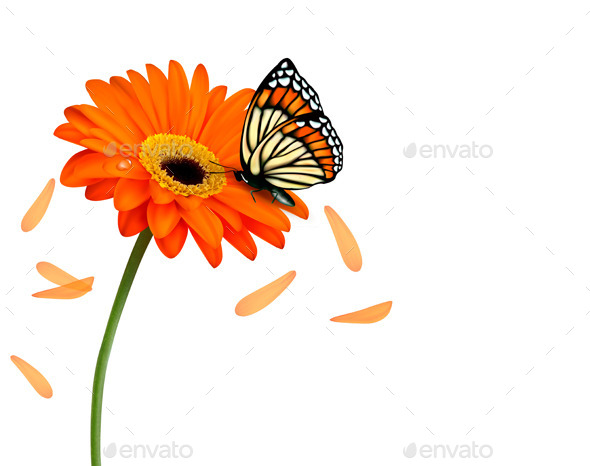 GraphicRiver Background with Flower and Butterfly 10861118
