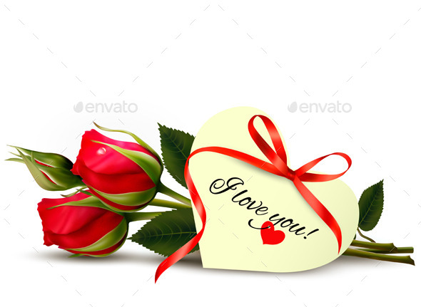 GraphicRiver Two Red Roses with an I Love You Note 10861122