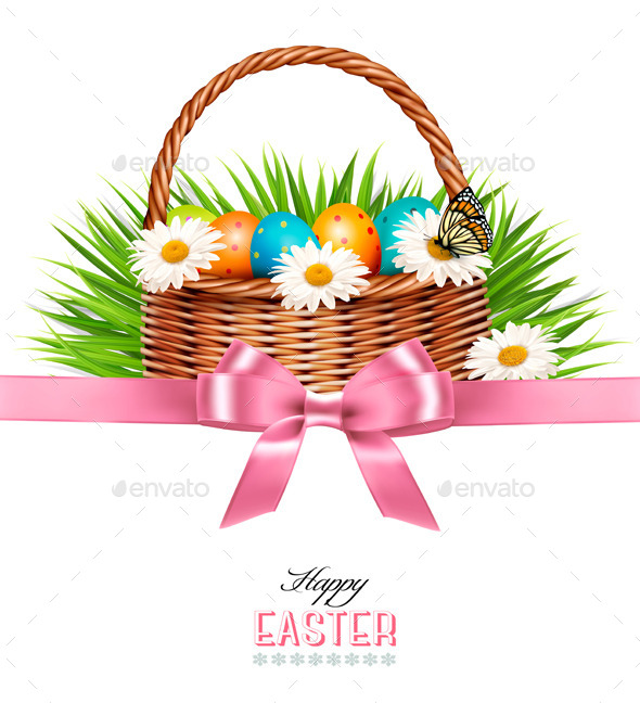GraphicRiver Happy Easter Background Basket with Eggs 10861135