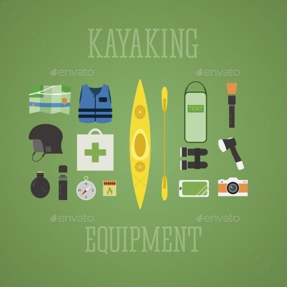 GraphicRiver Outdoor Adventure Kayaking Elements 10861140