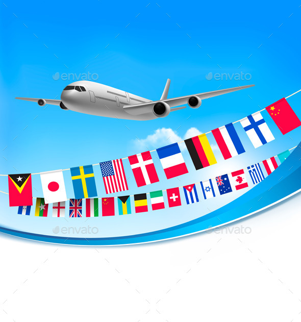 Airplane Travel Background with Flags