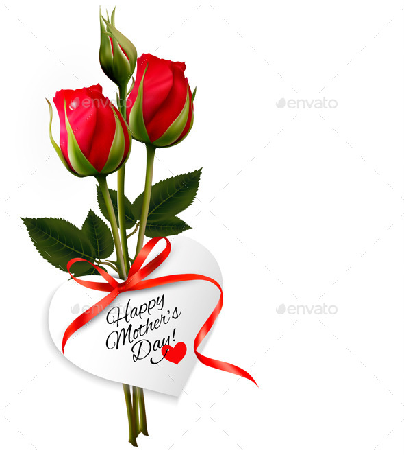 GraphicRiver Roses with Happy Mothers Day Gift Card 10861156