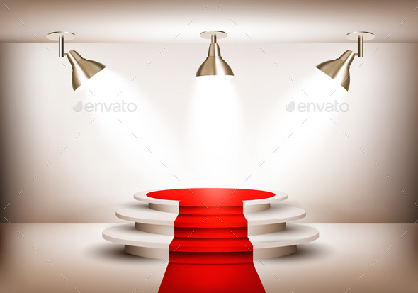 GraphicRiver Showroom with Red Carpet Leading to a Podium 10861207