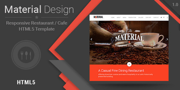 ThemeForest Material-Responsive Restaurant Cafe HTML Template 10719961