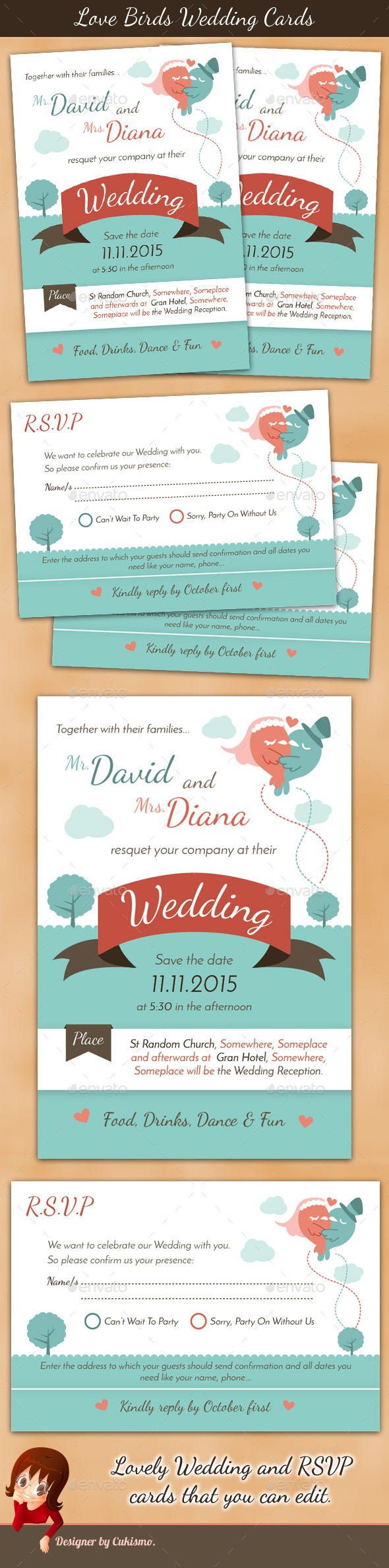 Love Birds Wedding Cards