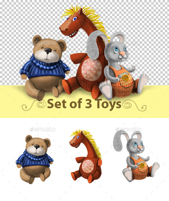 GraphicRiver Set of 3 Toys 10861304