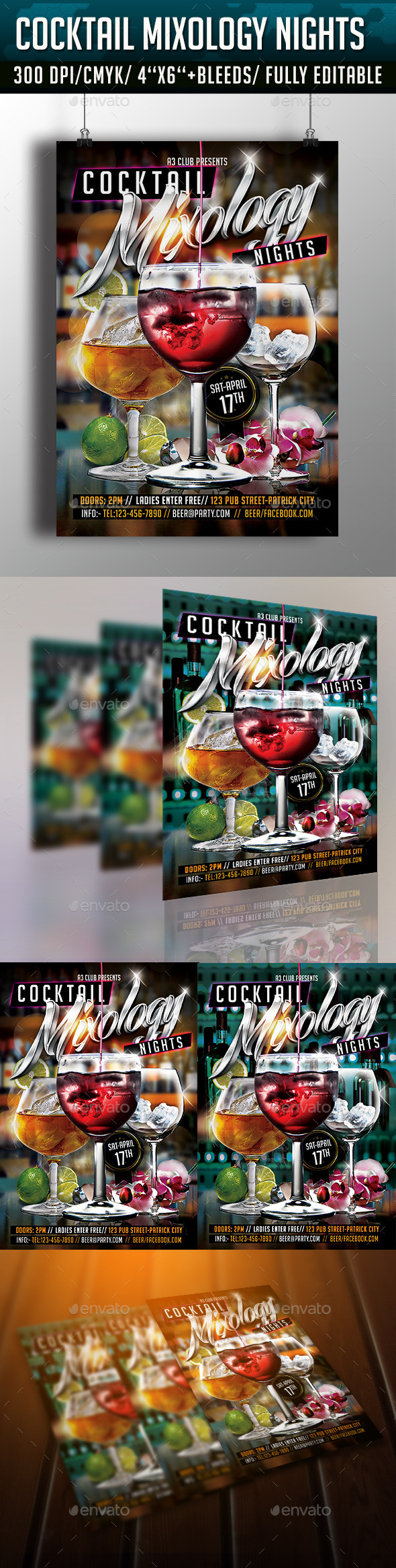 GraphicRiver Cocktail Mixology Nights Flyer 10861827