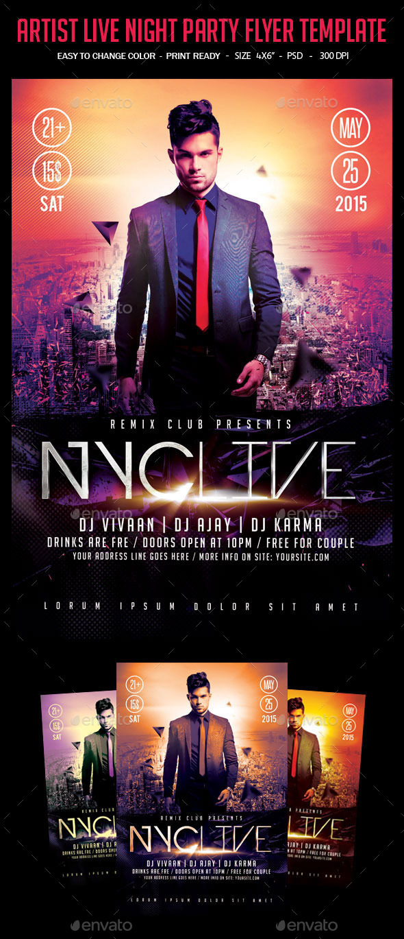 GraphicRiver Artist Live Night Party Flyer Template 10862340