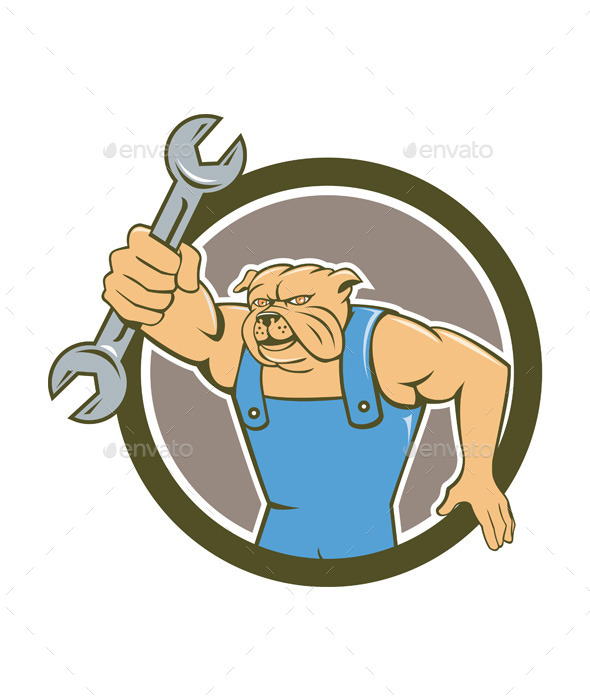 GraphicRiver Bulldog Mechanic Holding Spanner Circle Cartoon 10862387