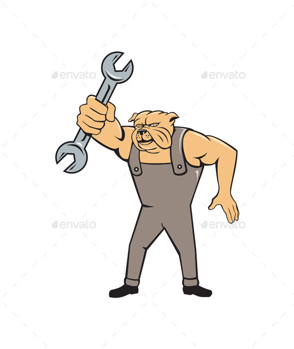 GraphicRiver Bulldog Mechanic Spanner Standing Cartoon 10862388