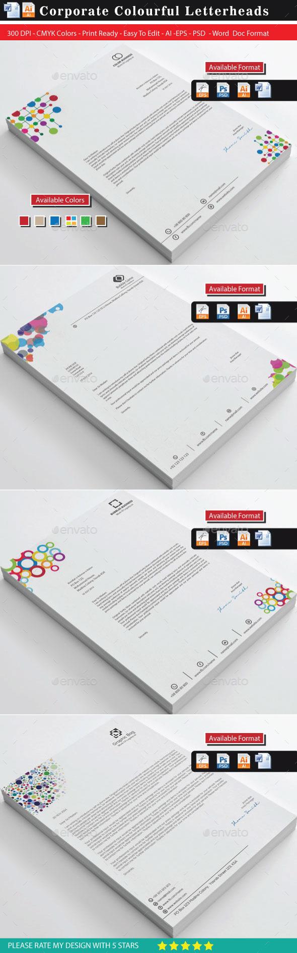 GraphicRiver Corporate Colourful Business Letterhead Bundle 10862389