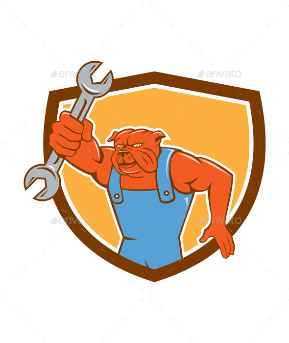 GraphicRiver Bulldog Mechanic Holding Spanner Shield Cartoon 10862390