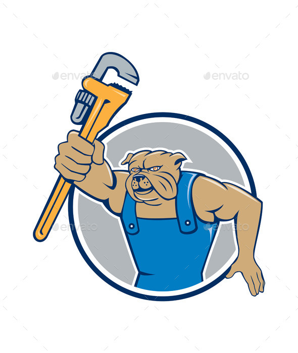GraphicRiver Bulldog Plumber Monkey Wrench Circle Cartoon 10862392