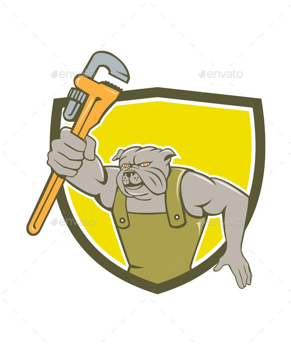 GraphicRiver Bulldog Plumber Monkey Wrench Shield Cartoon 10862394