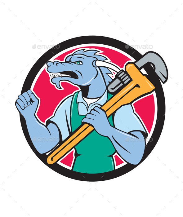 GraphicRiver Dragon Plumber Cartoon 10862477