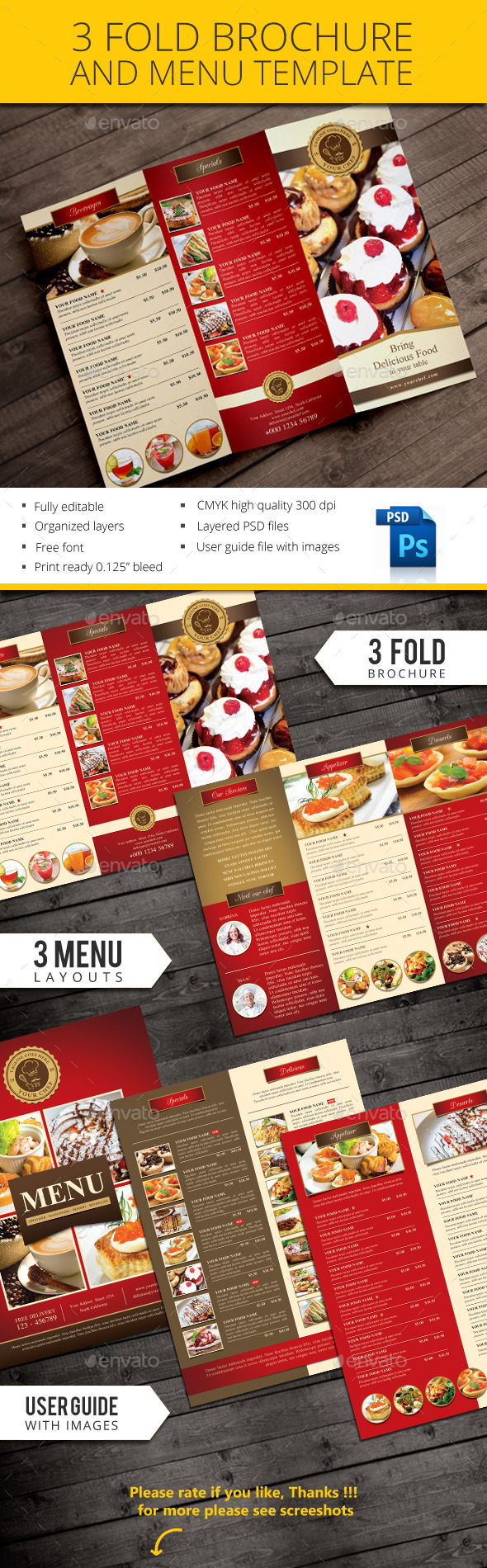GraphicRiver Trifold restaurant brochure and menu 10862871