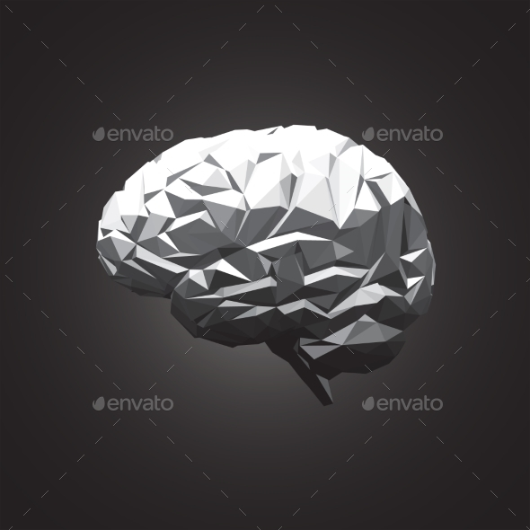 GraphicRiver Paper Abstract Human Brain on Dark Background 10863076