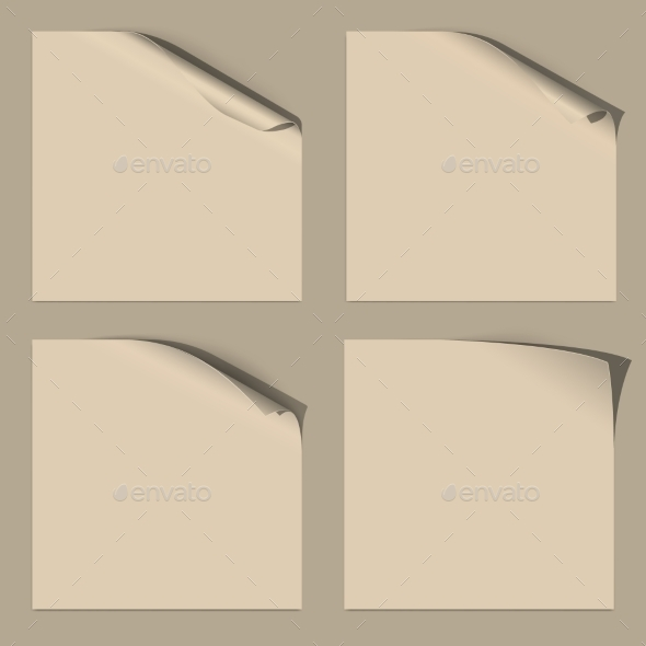 GraphicRiver Set of White Empty Paper Sheets with Curled Corner 10863202
