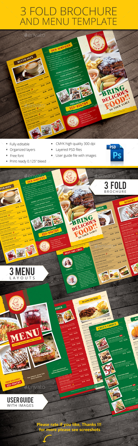 GraphicRiver Rustic Trifold Restaurant Brochure and Menu 10863507