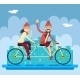Hipster Male Female Characters Riding Companion - GraphicRiver Item for Sale
