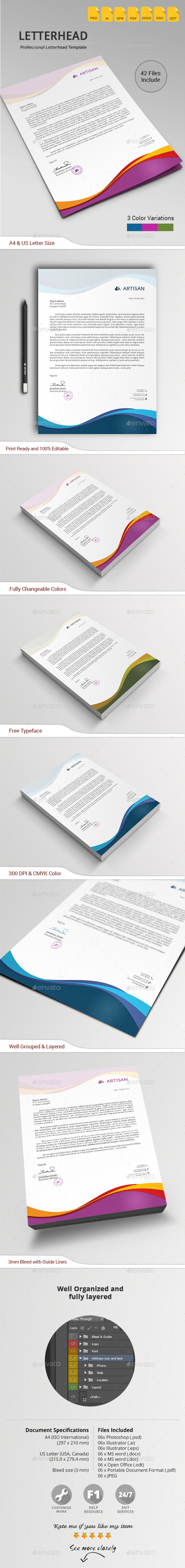 GraphicRiver Letterhead in Wave Style 10864072