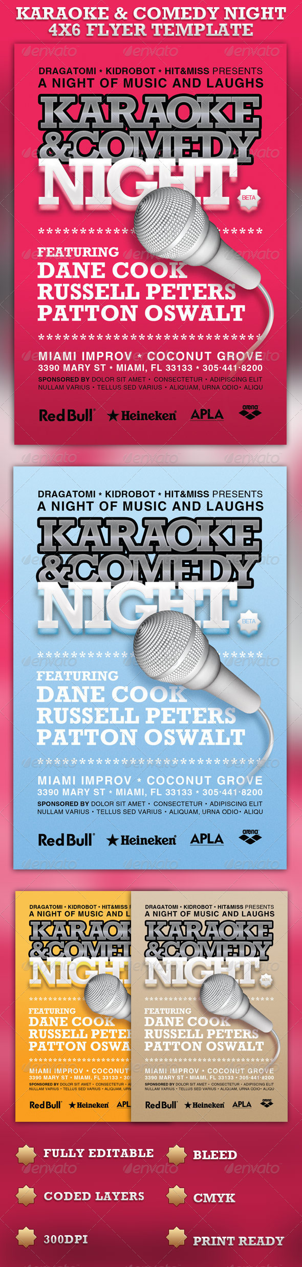 GraphicRiver Karaoke & Comedy Night 4x6 Flyer Template 1089965