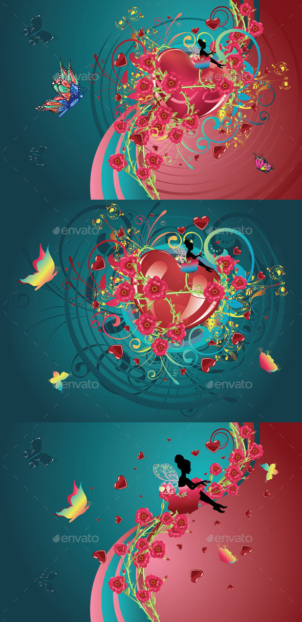 GraphicRiver Hearts and Roses 10864565