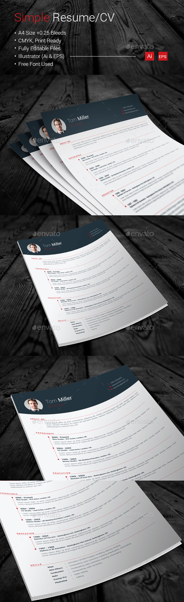 GraphicRiver Simple Resume CV 10865369