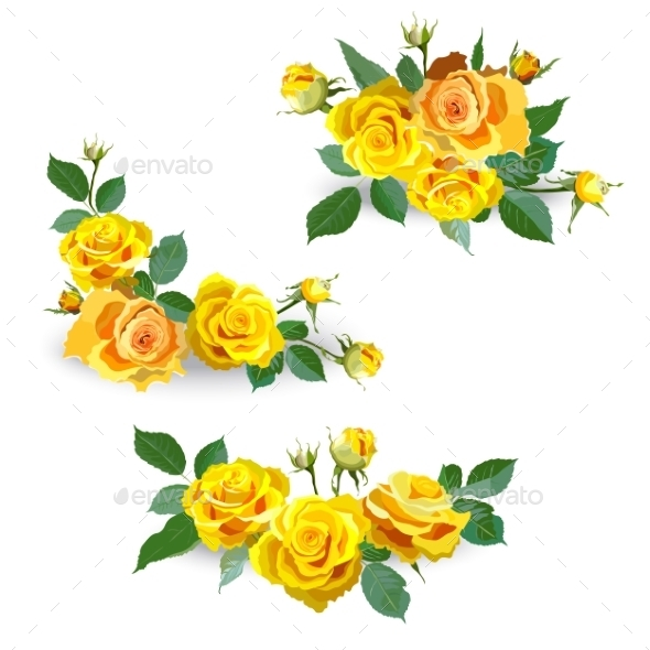 GraphicRiver Set of Yellow Roses 10865469