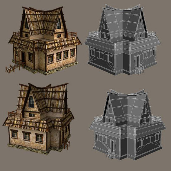 3DOcean Low Poly Tavern 10865536