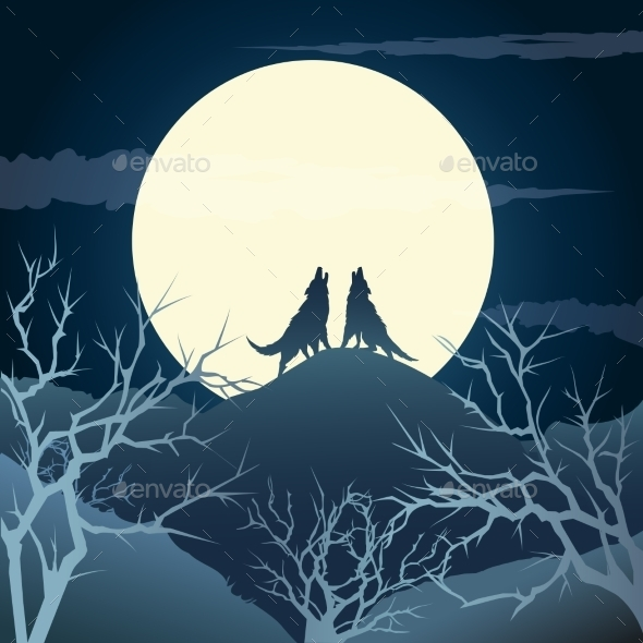 GraphicRiver Howling Wolves 10865563