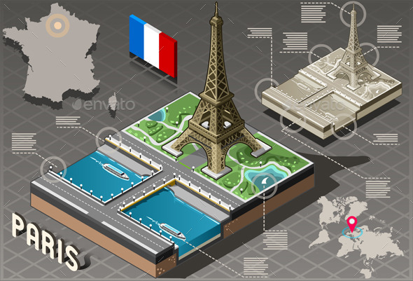 GraphicRiver Isometric Infographic Tour Eiffel in Paris 10865821