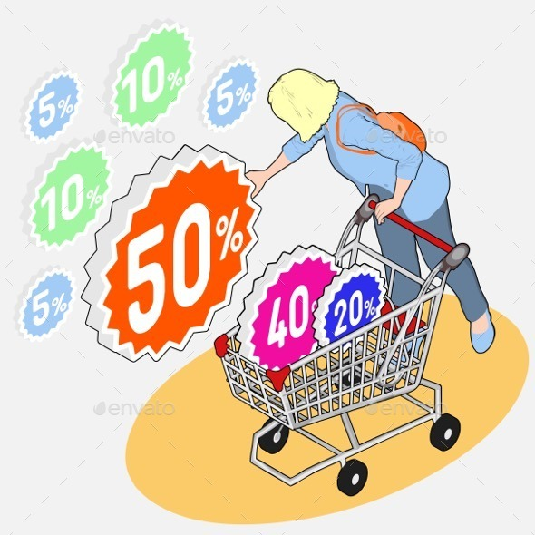 GraphicRiver Isometric Shopping Sale Girl Collecting Discount 10866068