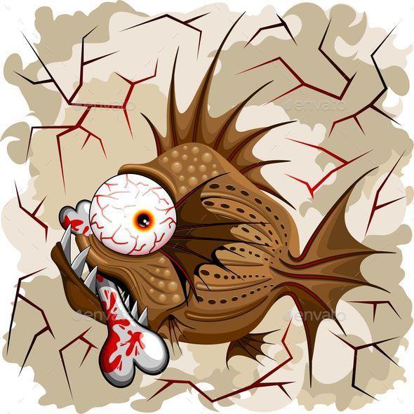 GraphicRiver Psycho Fish Piranha with Bone 10866085