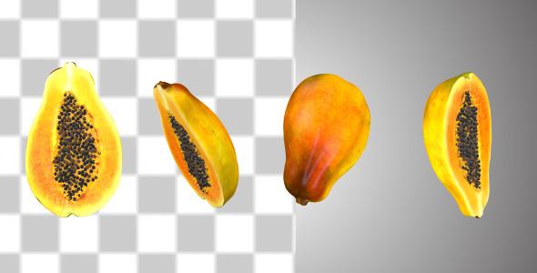 VideoHive Half Cut Papaya Fruits 10866133
