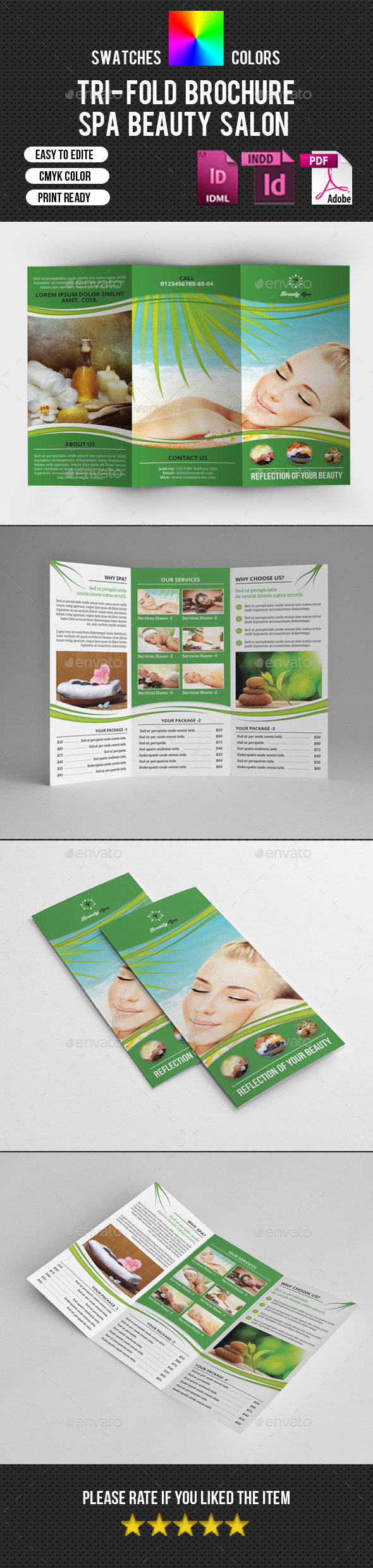 GraphicRiver Trifold Brochure for Spa Salon-V227 10866269