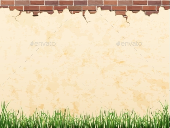 GraphicRiver Brick Wall with Grass 10866708