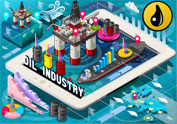 GraphicRiver Isometric Infographic Rig Energy Set on Tablet 10866857