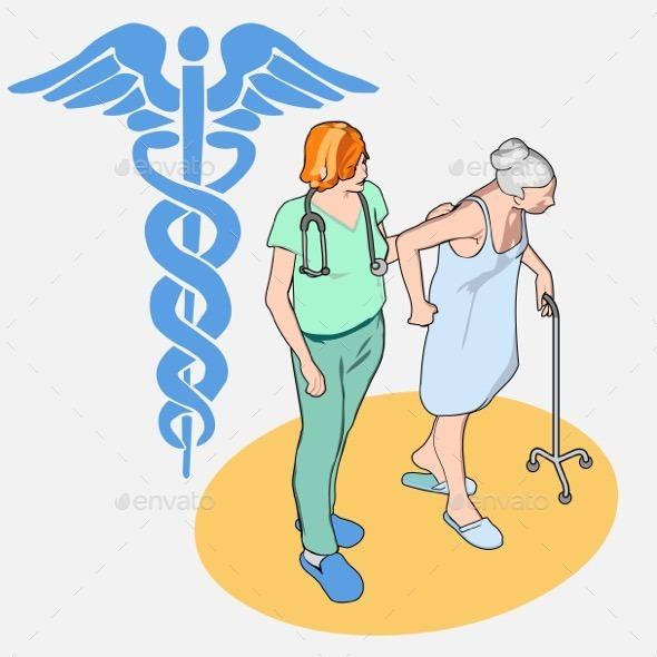 GraphicRiver Isometric Healthcare Set Senior Patient and Nurse 10866871